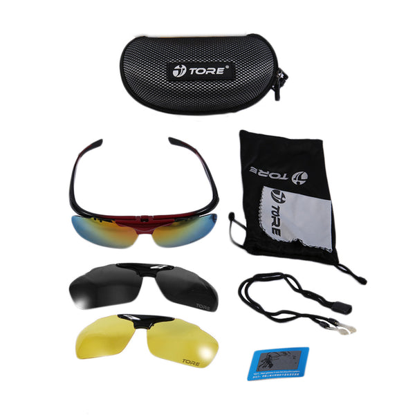 TORE Unisex Outdoor Cycling SunGlasses with detachable lenses