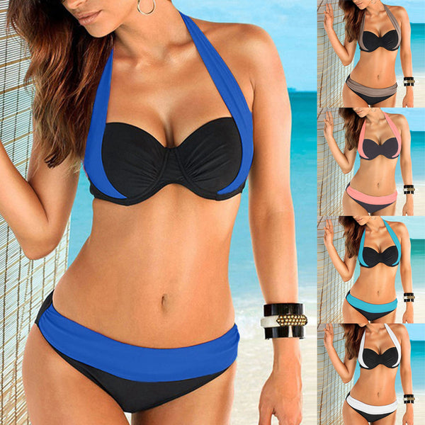 Women Push up Bra Low Waist Bikini Swimsuit (Includes Plus Sizes)