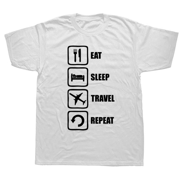 Men's Eat Sleep Travel Repeat Plane Image Short sleeve T-shirt by WEELSGAO