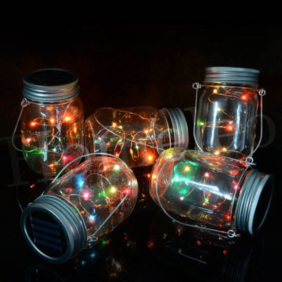 Gorgeous Solar-powered Mason jar lid with a string of LEDs [AMAZE YOUR FRIENDS]