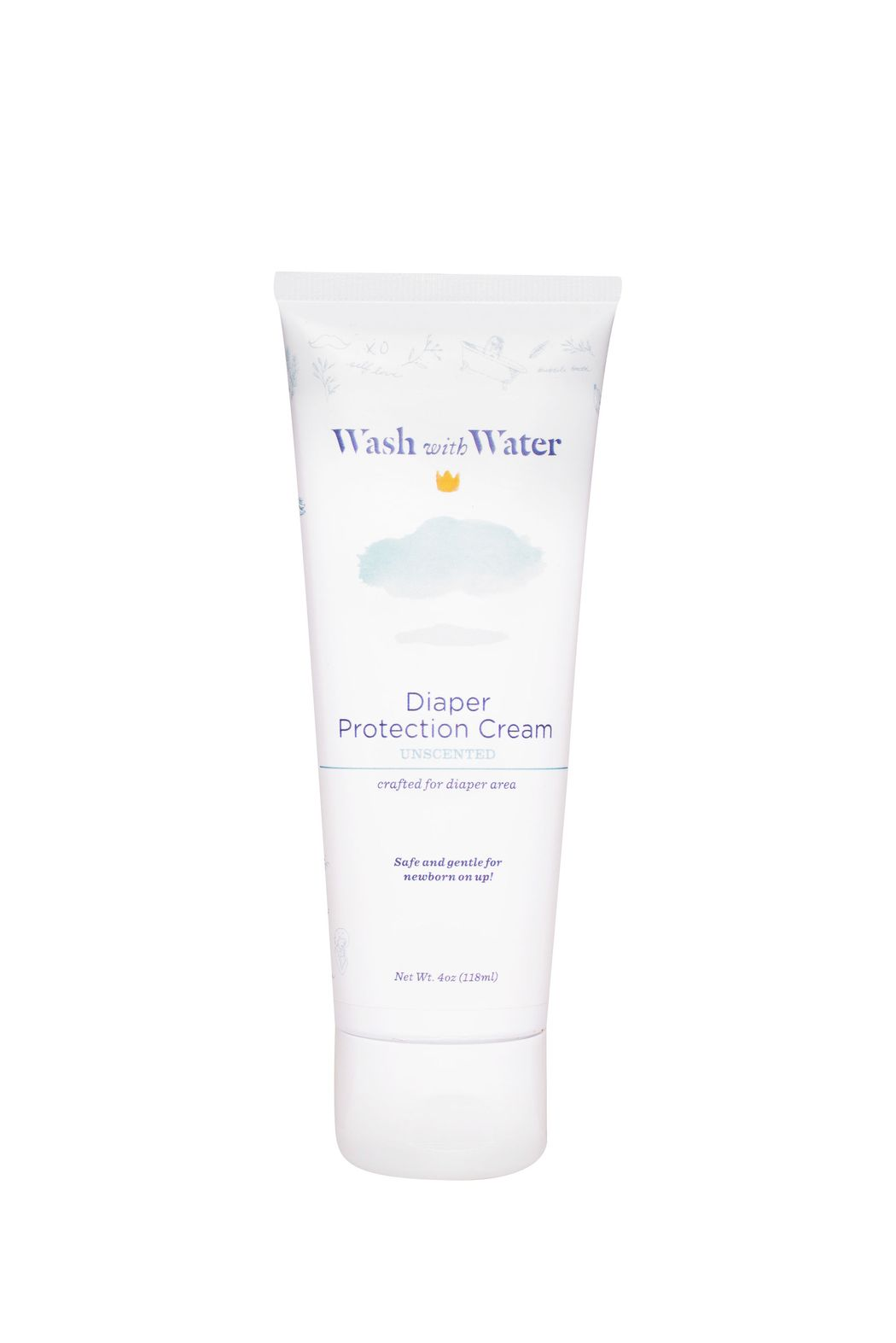 Diaper Protection Cream | unscented, 4oz tube | Wash with Water