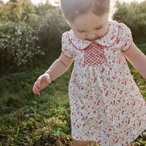 Smocked Dress with Ruffle Bloomers | Madison Poppy Floral Print | Pineapple Sunshine