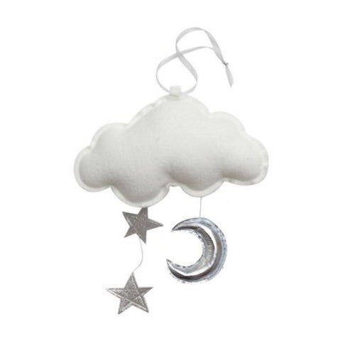 Luxe Wall Hung Cloud Mobile - White with Silver Moon + Stars | Baby Jives Co
