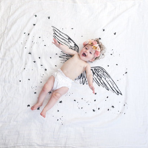 Angel Wings Organic Cotton Swaddle Blanket | Baby Jives Co