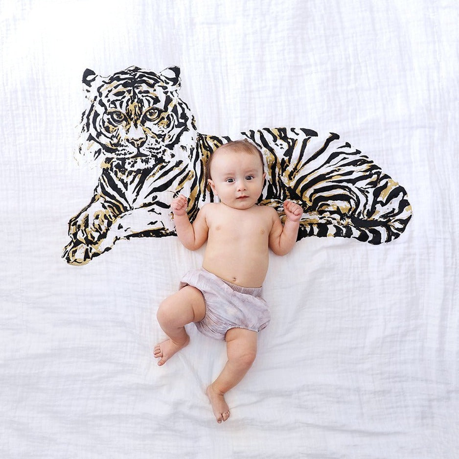 Organic Cotton Swaddle Blanket - Tiger - Baby Jives Co
