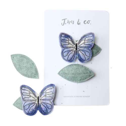 Lilac Butterfly + Leaf Clip Set | Baby Jives Co