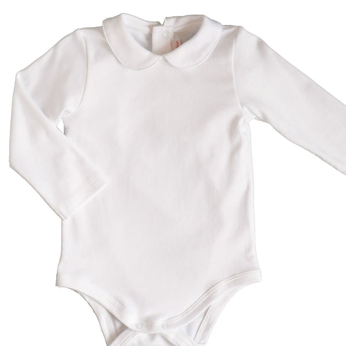 Long-Sleeve Peter Pan Collar Onesie | White | Pineapple Sunshine