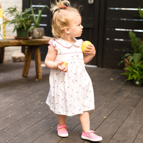 Smocked Dress with Bloomers | Pink Alpaca Print | Pineapple Sunshine