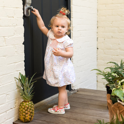 Smocked Dress with Ruffle Bloomer | Light Pink Madison Floral Print | Pineapple Sunshine