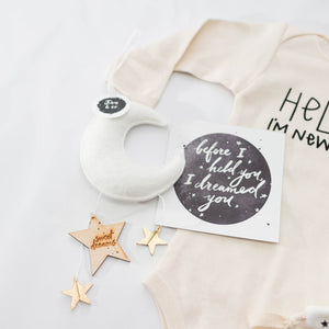Luxe Mini Moon Keepsake - White with Gold Stars | Baby Jives Co