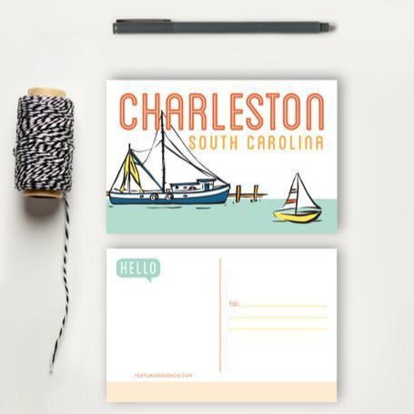 Charleston Boats Postcard | Texture Design Co