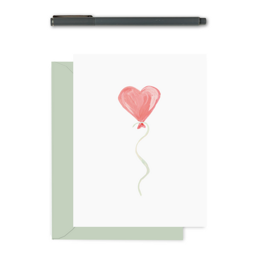Handpainted Heart Balloon Greeting Card| Texture Design Co
