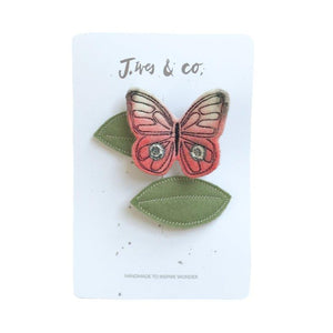 Coral Butterfly + Leaf Hair Clip Set | Baby Jives Co