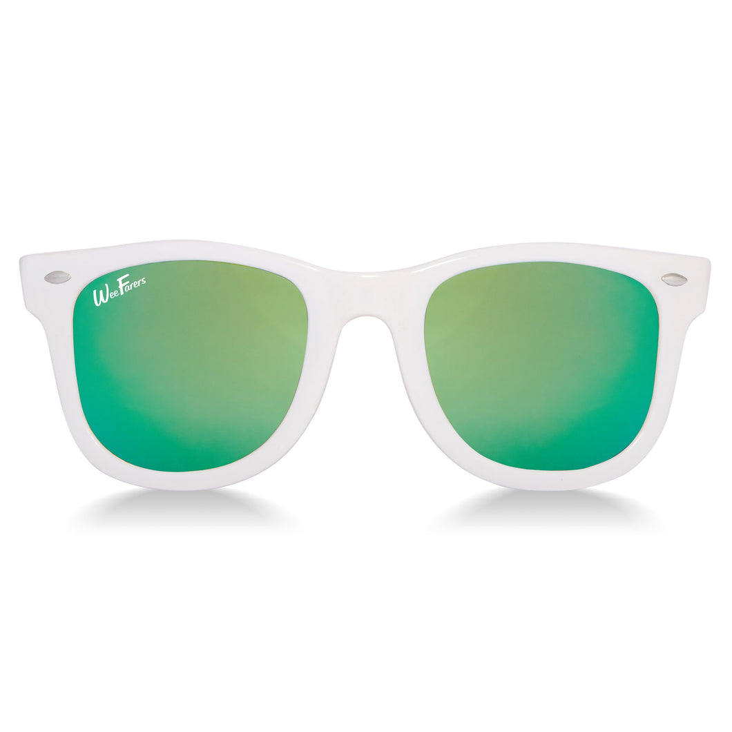 Polarized Sunglasses | White w/ Sea Green Lenses | WeeFarers