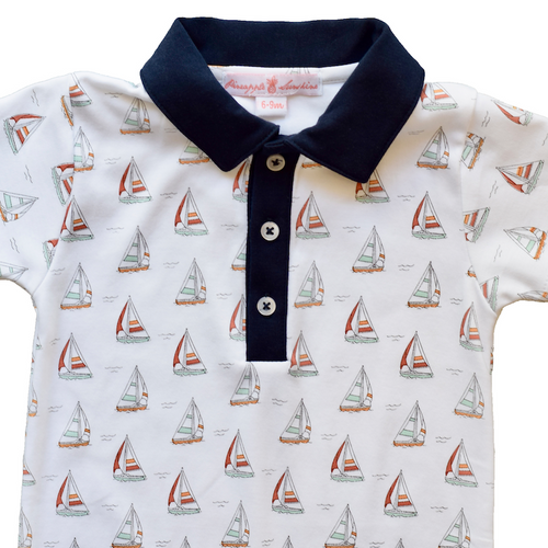 Romper with Collar | Sailboat Print | Pineapple Sunshine + Texture Design Co.