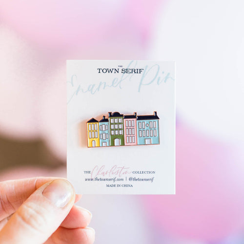 Rainbow Row Enamel Pin | The Town Serif