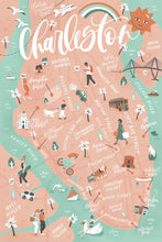 Load image into Gallery viewer, Charleston Map Postcard | Set of 10 | The Town Serif