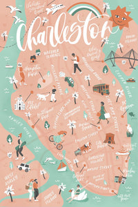 Charleston Map Postcard | Set of 10 | The Town Serif