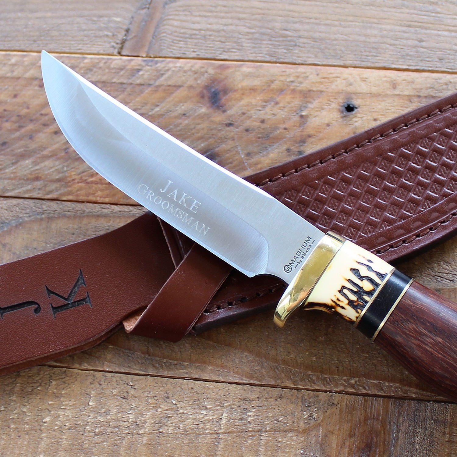Boker Magnum Premium Skinner Fixed Blade Knife with Pakkawood Handle -  Personalized Groomsmen Gifts, Hunting, Camping, Father's Day, Dad