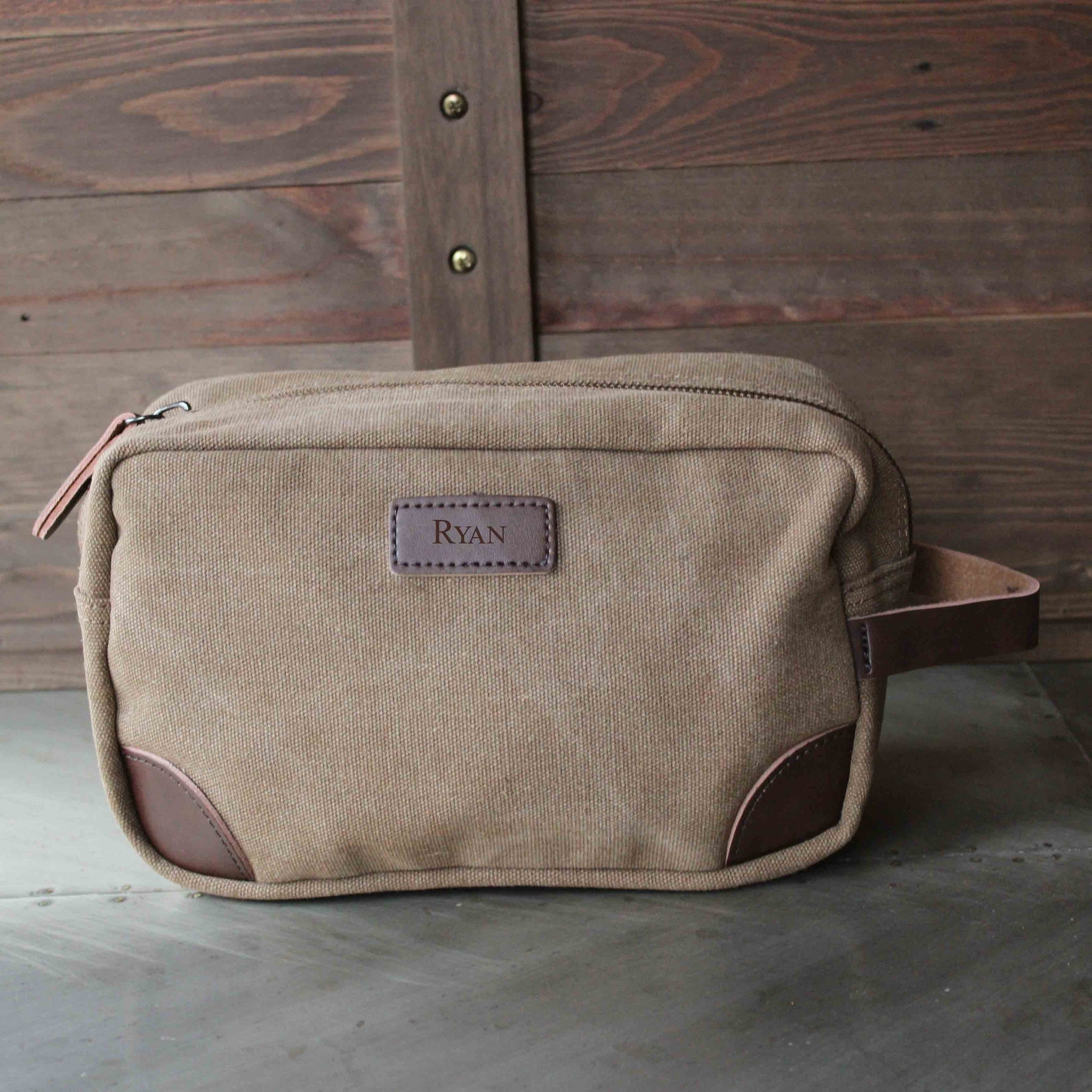 7055267d2e The Teton Groomsmen s Travel Size Toiletry Bag in Dark Brown - Personalized  Canvas Dopp Kit with Genuine Leather
