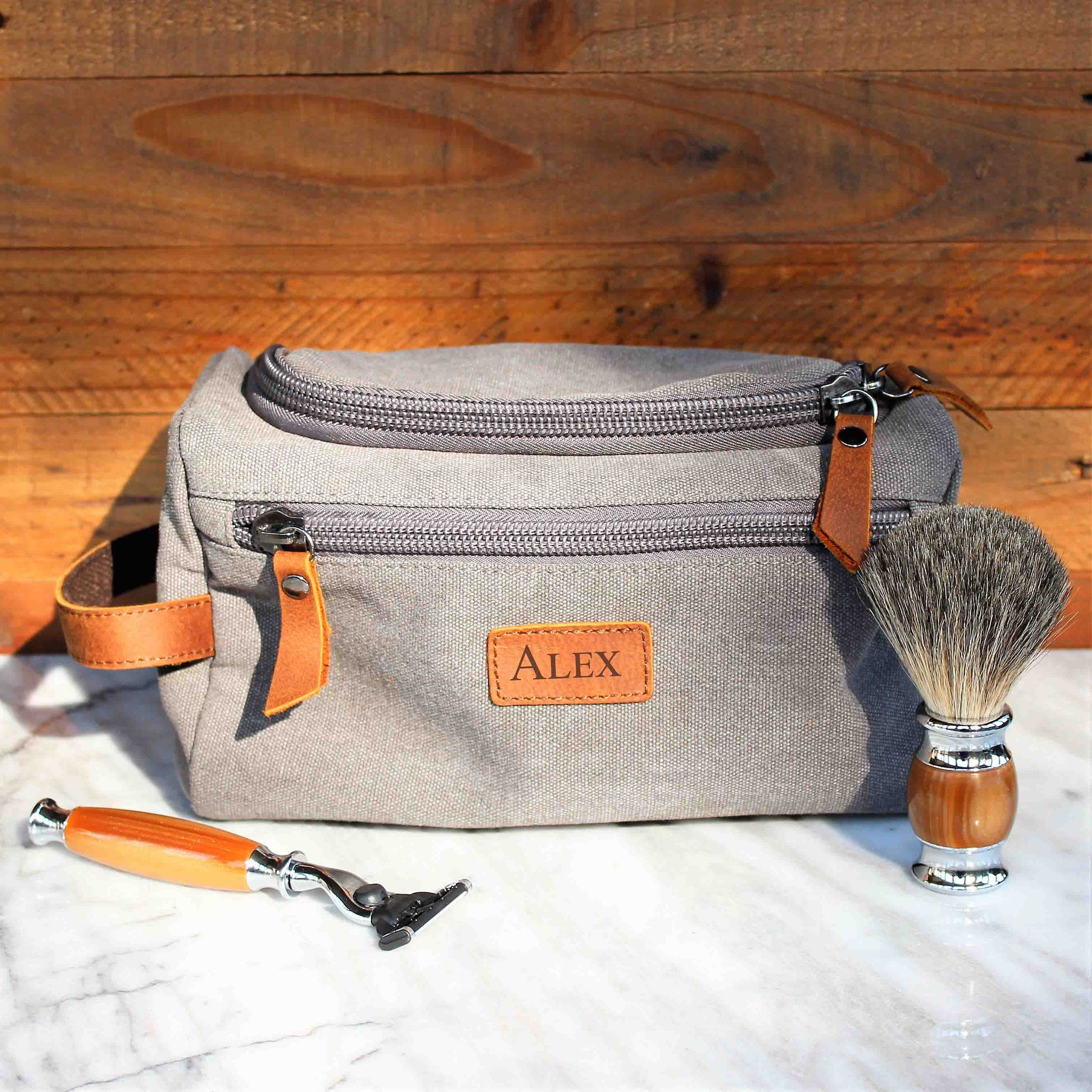 The Rainier Toiletry Bag In Genuine Brown Leather And Gray Canvas