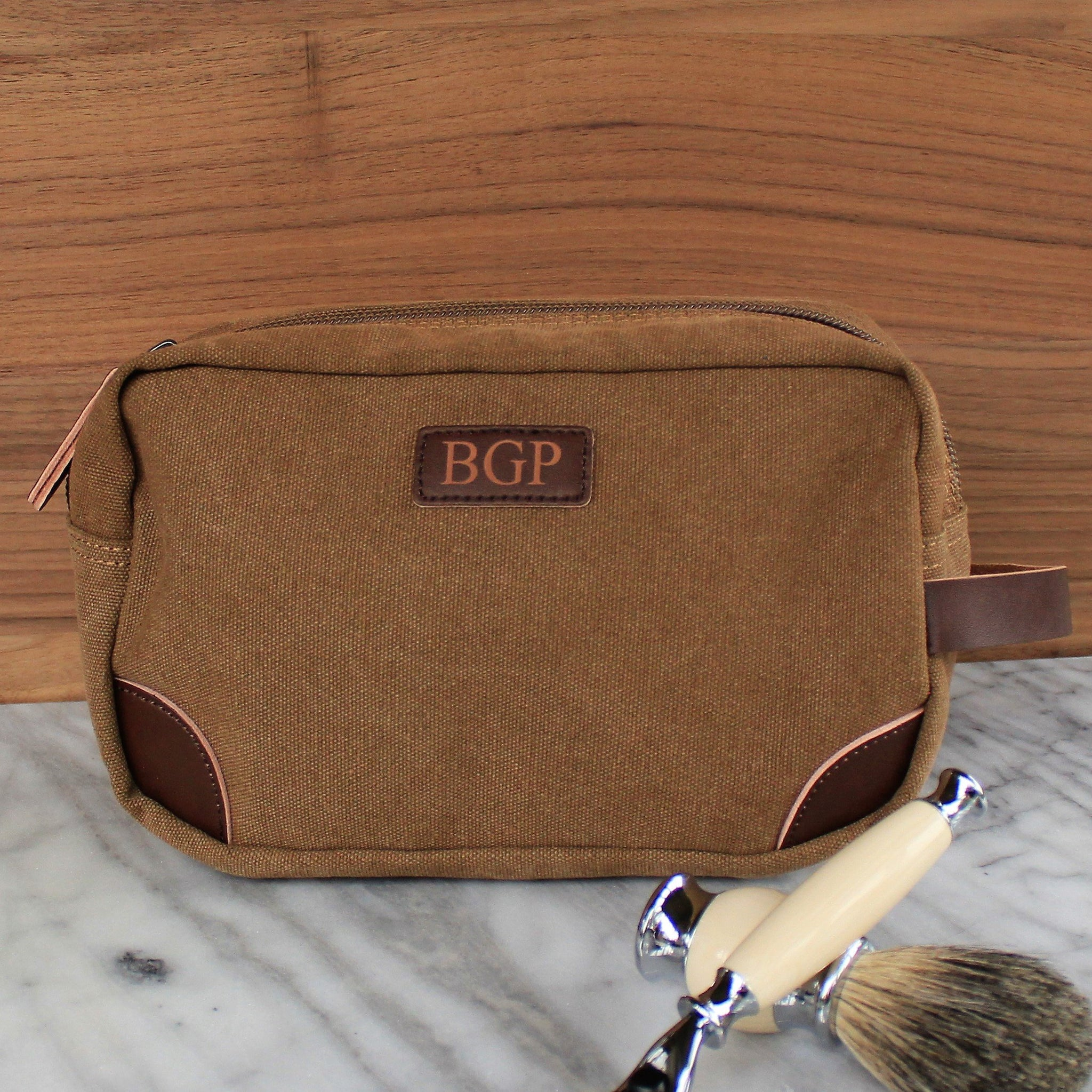 028134308923 The Teton - Groosmen Gift, Travel Size Toiletry Bag - Personalized Canvas  and Genuine Leather Dopp Kit, Groomsman, Best Man, Usher, Dad