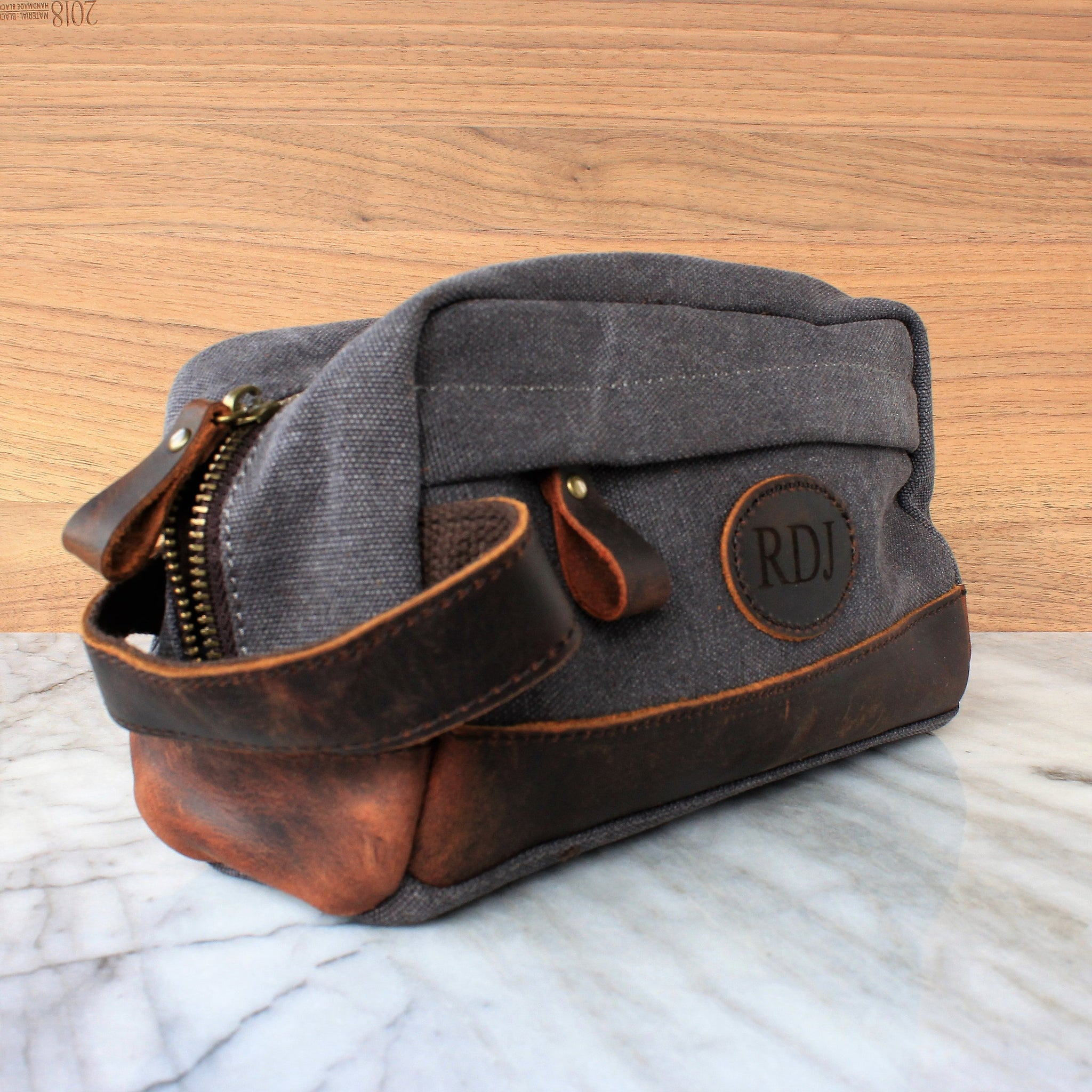 4e802d9ecb09 The Elbert Toiletry Bag in Vintage Black Wash - Personalized Canvas and  Genuine Leather Dopp Kit, Groomsmen Gift, Best Man, Usher, Shave Bag