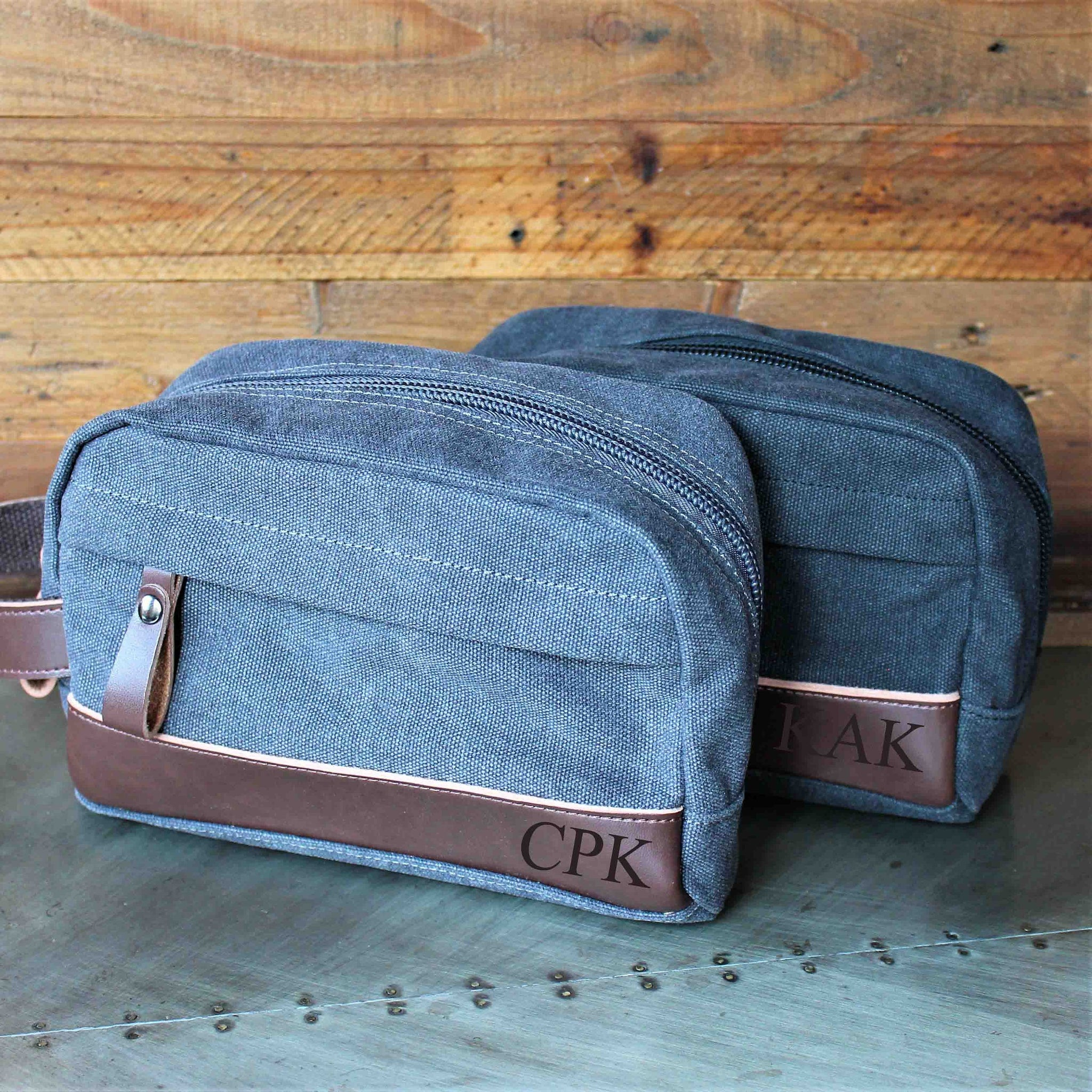 fe39b482b2 The Peale - Groomsmen s Travel Size Toiletry Bag in Black or Gray - Personalized  Canvas Dopp Kit