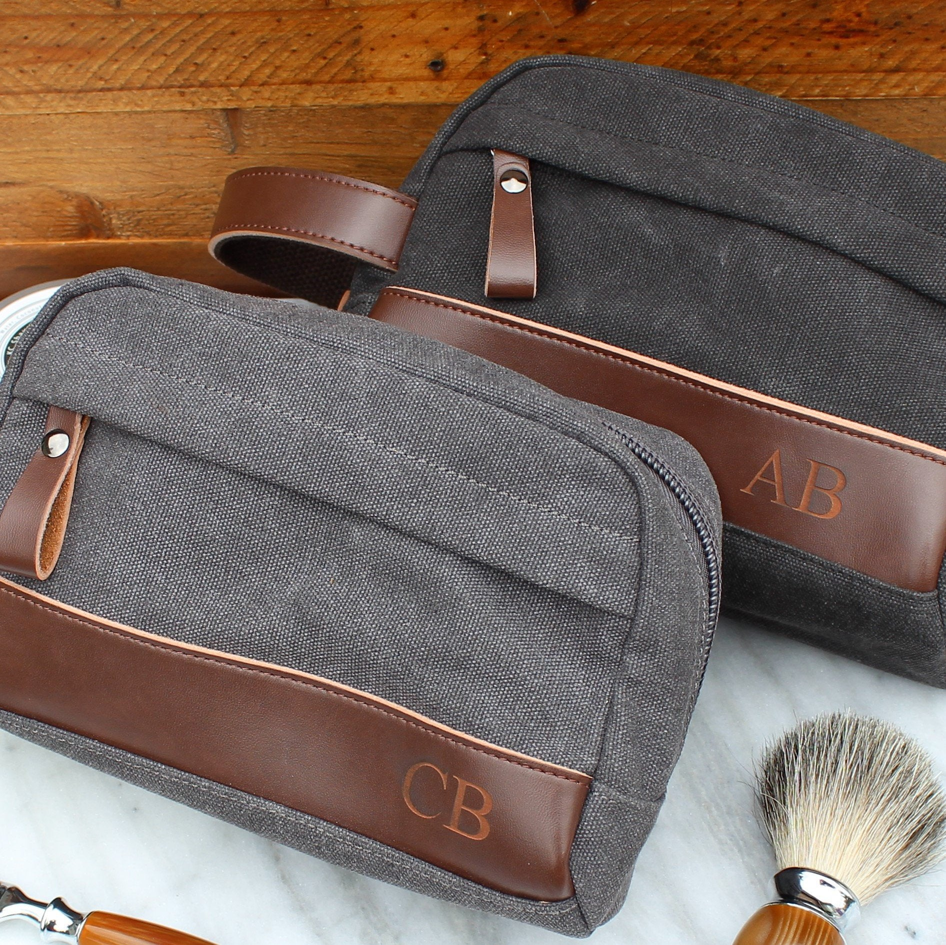 469c57006f The Peale - Groomsmen s Travel Size Toiletry Bag in Black or Grey -  Personalized Canvas Dopp Kit