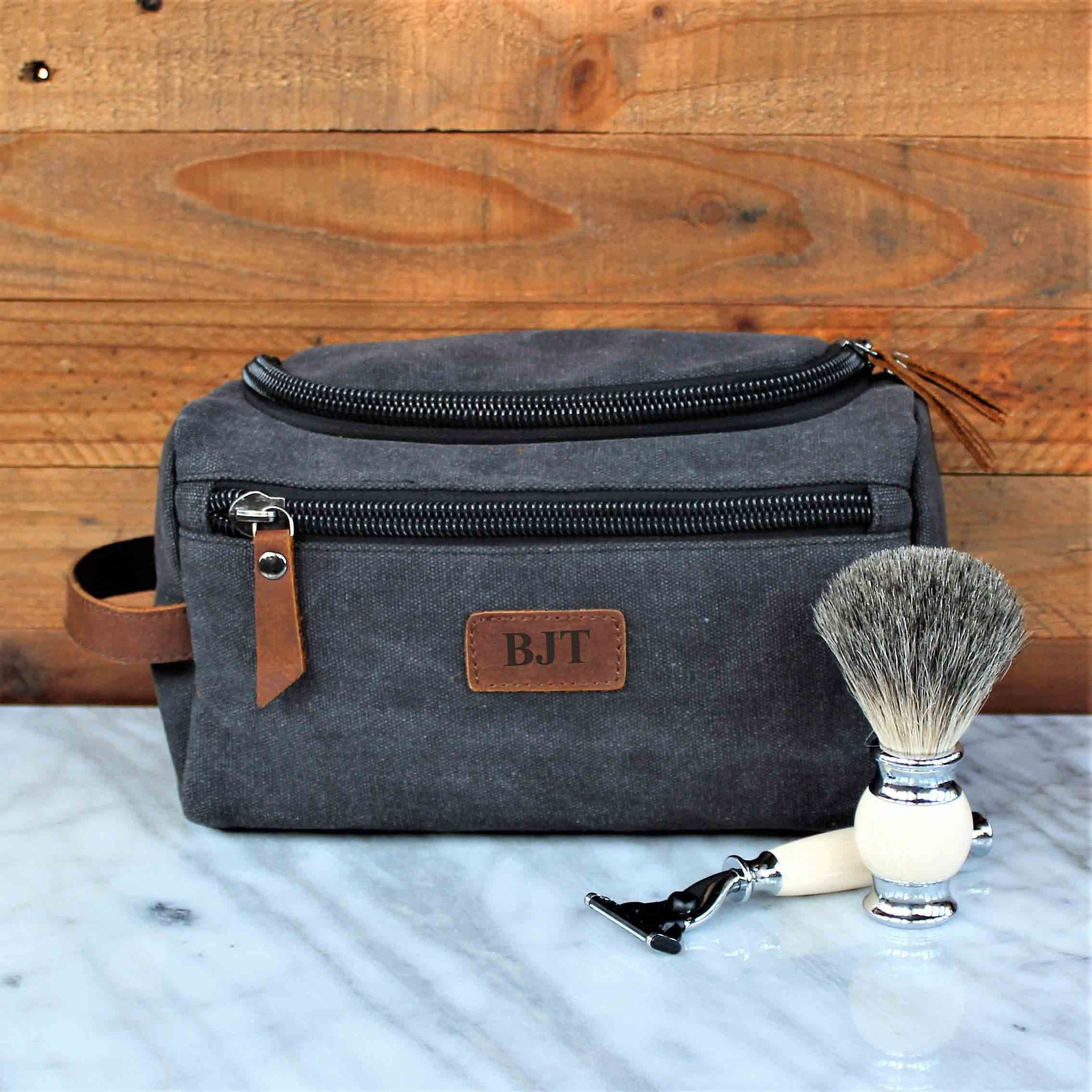 The Rainier Toiletry Bag In Genuine Brown Leather And Black Canvas