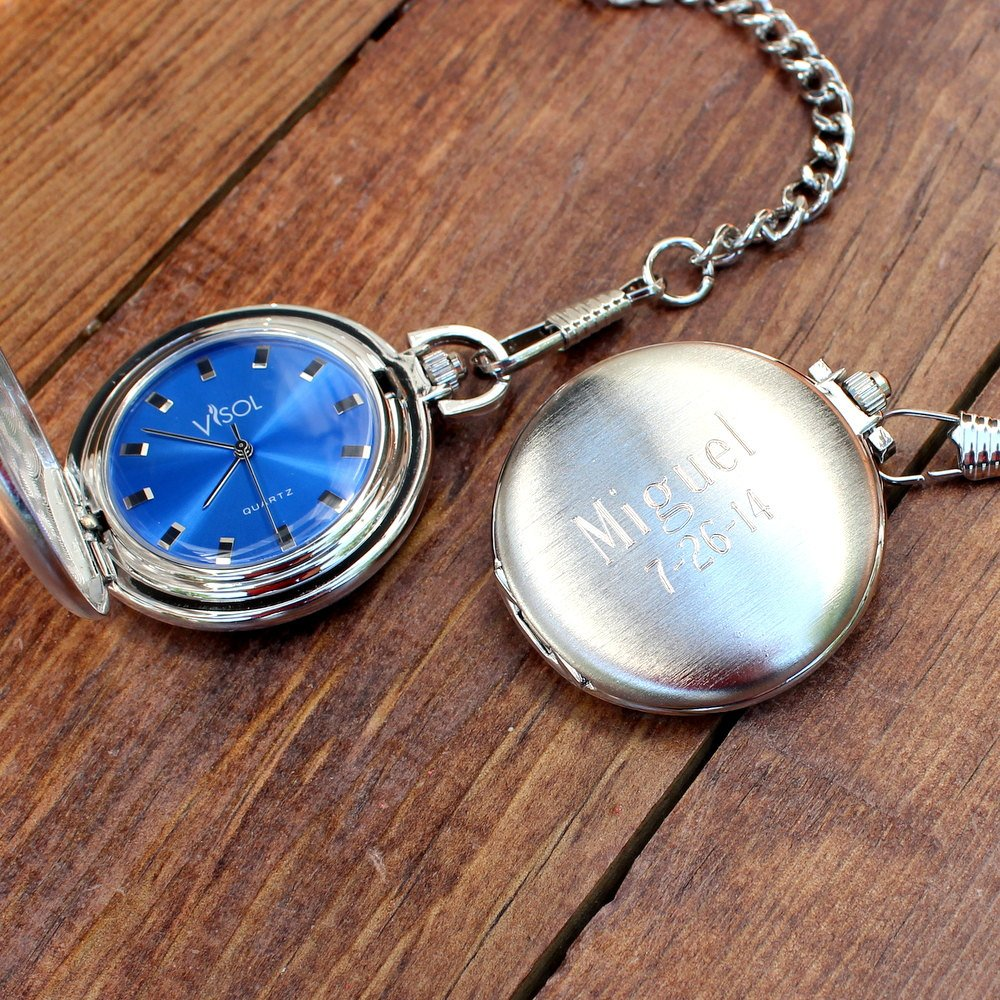 3d8ed1cc1ed47 Silver Pocket Watch with Blue Dial - Personalized Groomsmen Gift for Him