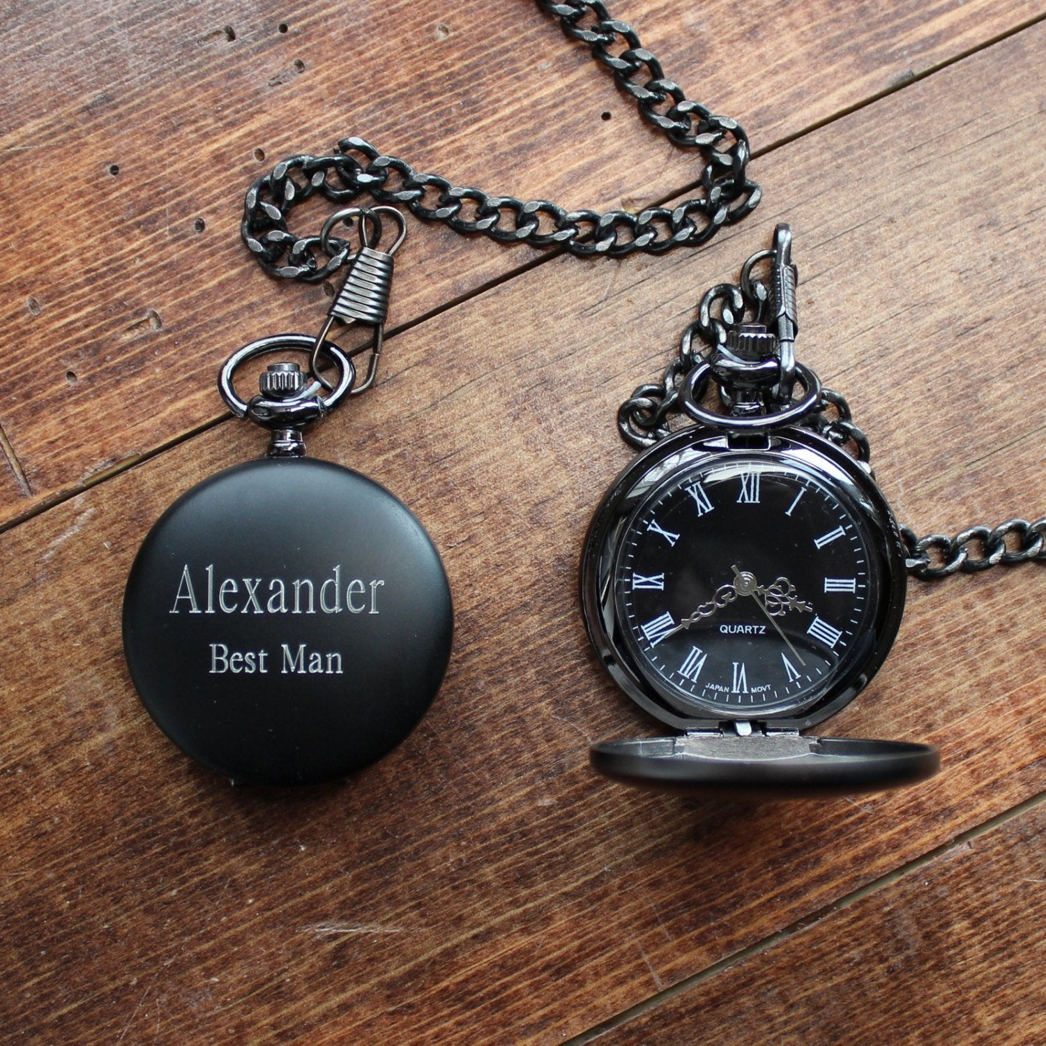 Groomsmen Gift Mens Black Pocket Watch