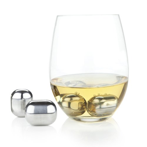 Glacier Rocks Stainless Steel Wine Chiller Ice Cube Globes