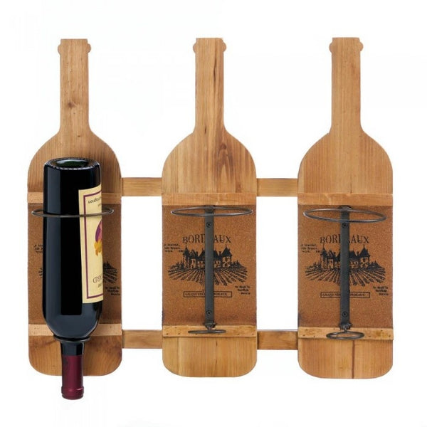 Wall Mount Wood Wine Bottle Rack
