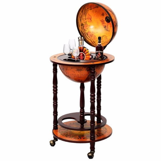 Wood Globe Rolling Wine Rack Bar Stand