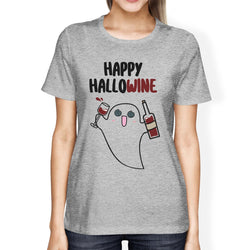 Happy Hallowine Ghost Wine Womens Grey Shirt