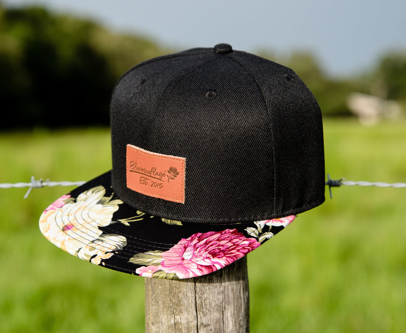 585be2def Bloomouflage Black Floral Flat Bill Snapback With Brown Leather Patch