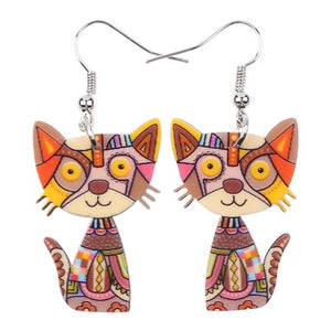 Drop Cat Acrylic Earrings - GrandOakTree