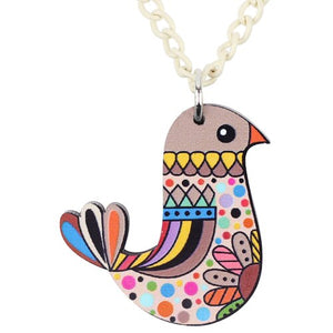 Acrylic Multicolor Bird Necklace - GrandOakTree