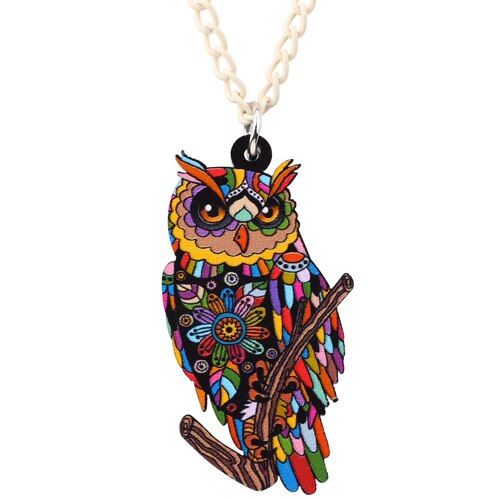 Acrylic Multicolor Owl Necklace - GrandOakTree