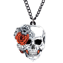 Load image into Gallery viewer, Acrylic Halloween Flower Skull Necklace - GrandOakTree