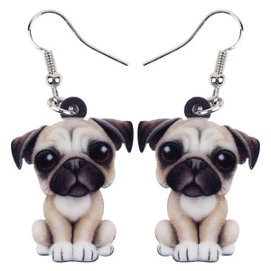 Acrylic Pug Puppy Earrings - GrandOakTree