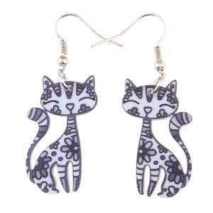 Acrylic Cartoon Cat Earrings - GrandOakTree