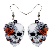 Load image into Gallery viewer, Acrylic Halloween Rose Flower Skull Earrings - GrandOakTree