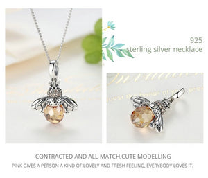 *** NEW 2019 *** Dancing Bees Necklace - 925 Sterling Silver - GrandOakTree