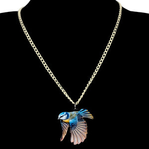 Acrylic Blue Tit Bird Necklace - GrandOakTree