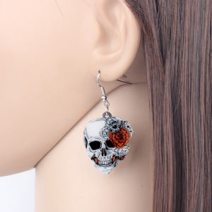 Acrylic Halloween Rose Flower Skull Earrings - GrandOakTree