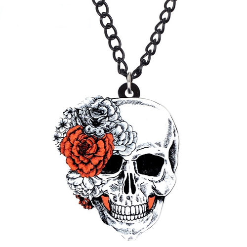 Acrylic Halloween Flower Skull Necklace - GrandOakTree
