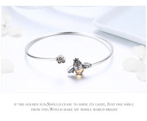 *** NEW 2019 *** Dancing Bees Bangle - 925 Sterling Silver - GrandOakTree