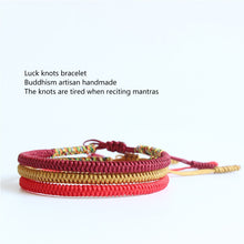 Load image into Gallery viewer, Handmade Tibetan Lucky Knots Bracelet - deep red, golden, red - GrandOakTree